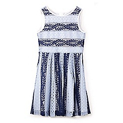 Yumi Girl - Girls' navy print branch lace sleeveless dress