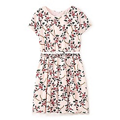 Yumi Girl - Girls' pink floral vine print dress