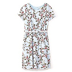 Yumi Girl - Girls' blue floral vine print dress