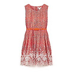 Yumi Girl - Girls' red floral print embroidery dress
