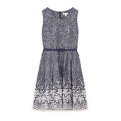 Yumi Girl - Girls' navy floral print embroidery dress