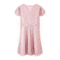 Yumi Girl - Girls' pink lace layered sleeve dress