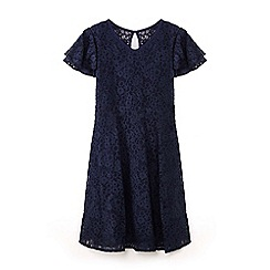 Yumi Girl - Girls' navy lace layered sleeve dress