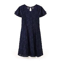 Yumi Girl - Girls' navy lace layered sleeve dress