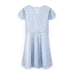Yumi Girl - Girls' blue lace layered sleeve dress