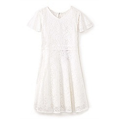 Yumi Girl - Girls' ivory lace layered sleeve dress