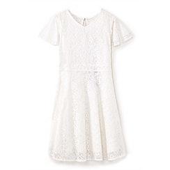 Yumi Girl - Girls' ivory lace layered sleeve dress