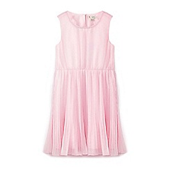 Yumi Girl - Girls' pink mock pearl neckline occasion dress