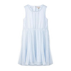 Yumi Girl - Girls' blue mock pearl neckline occasion dress