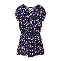 Yumi Girl - Girls' navy mini butterfly print playsuit