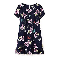 Yumi Girl - Girls' navy floral & butterfly print dress
