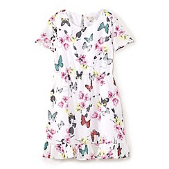 Yumi Girl - Girls' cream floral & butterfly print dress