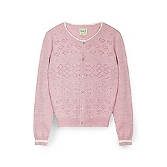 Yumi Girl - Pink heart stitched cardigan