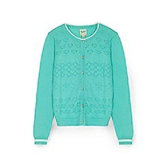 Yumi Girl - Mint heart stitched cardigan