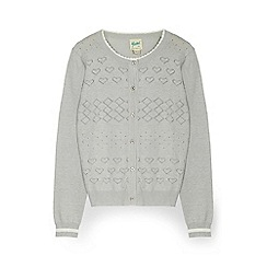 Yumi Girl - Grey heart stiched cardigan