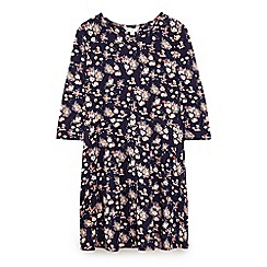 Yumi Girl - Blue flower cluster jersey dress