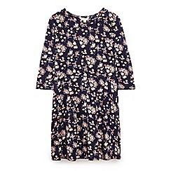 Yumi Girl - Blue flower cluster jersey dress