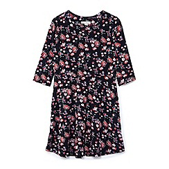 Yumi Girl - Black flower cluster jersey dress