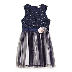 Yumi Girl - Blue 3d corsage embellished tulle dress