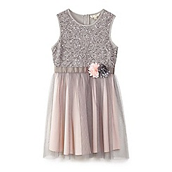 Yumi Girl - Grey 3d corsage embellished tulle dress