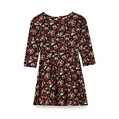 Yumi Girl - Black floral print skater dress