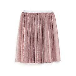 Yumi Girl - Pink metallic pleated mesh skirt