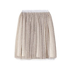 Yumi Girl - Gold metallic pleated mesh skirt