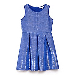 Yumi Girl - Blue lurex shine jacquard party dress
