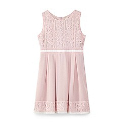 Yumi Girl - Pink laced border and stripe dress