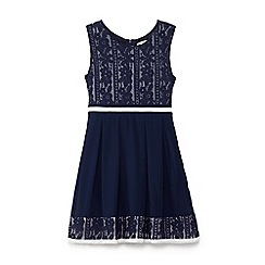 Yumi Girl - Blue laced border and stripe dress