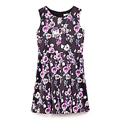 Yumi Girl - Black statin flower print skater dress