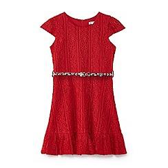 Yumi Girl - Pink lace border ruffle dress