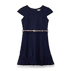 Yumi Girl - Blue lace border ruffle dress