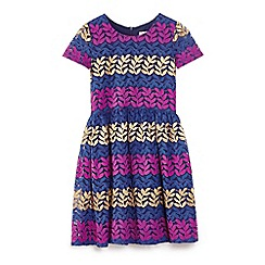 Yumi Girl - Multicoloured lace leaf panelled skater dress