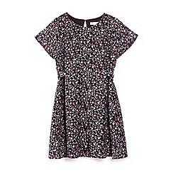 Yumi Girl - Black ditsy floral print skater dress