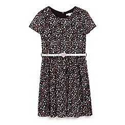 Yumi Girl - Black flower print day dress