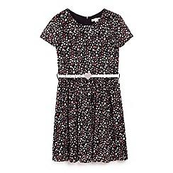 Yumi Girl - Black flower print day dress