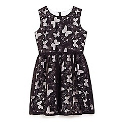 Yumi Girl - Black butterfly panel party dress