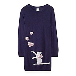 Yumi Girl - Blue cat and sequinned heart jumper dress