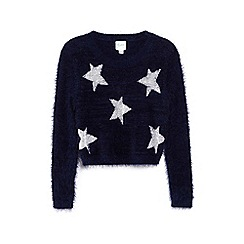 Yumi Girl - Blue soft sequin star patterned jumper