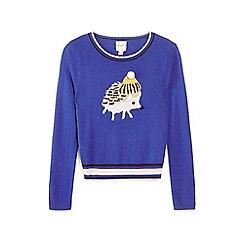 Yumi Girl - Blue hedgehog hat embellished jumper