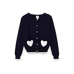 Yumi Girl - Blue heart pattern pocket cardigan