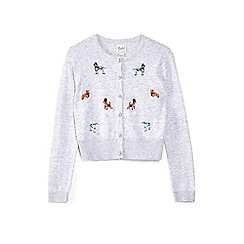 Yumi Girl - Grey button-up dog embroidered cardigan