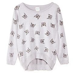 Yumi Girl - Grey cute cat printed jumper