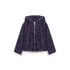 Yumi Girl - Blue shaggy faux fur zip jacket