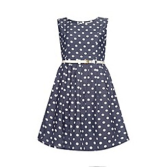 Yumi Girl - Chambray polka dot print dress