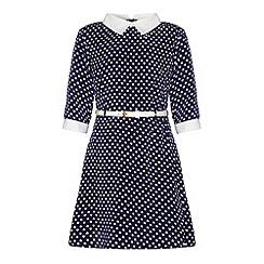 Yumi Girl - White collar heart polka dot print dress