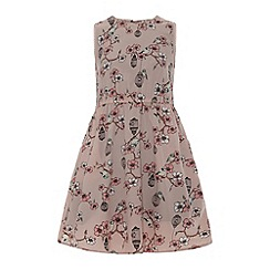 Yumi Girl - Floral and bird cage print dress