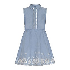 Yumi Girl - Embroidered hem chambray dress