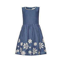 Yumi Girl - Pin dot print dress with embroidered hem.